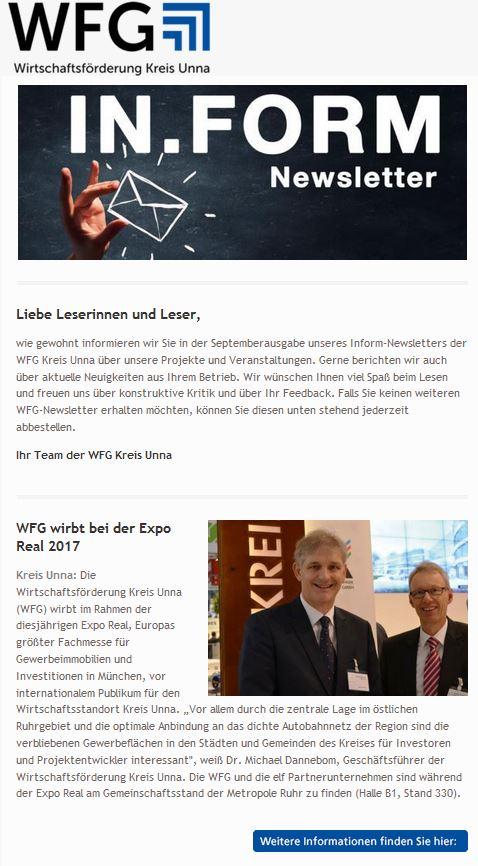 bildschirmfoto von newsletter september 2017 wfg unna mit bild und text
